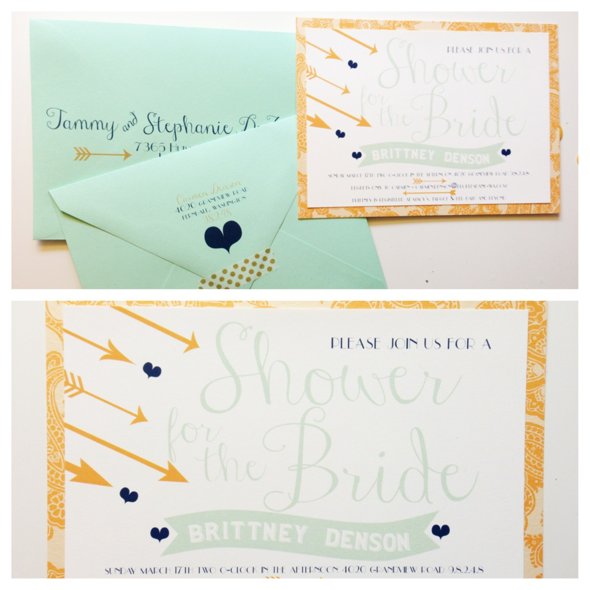 heart and arrow invitations, bridal shower invitations, seattle wedding invitations