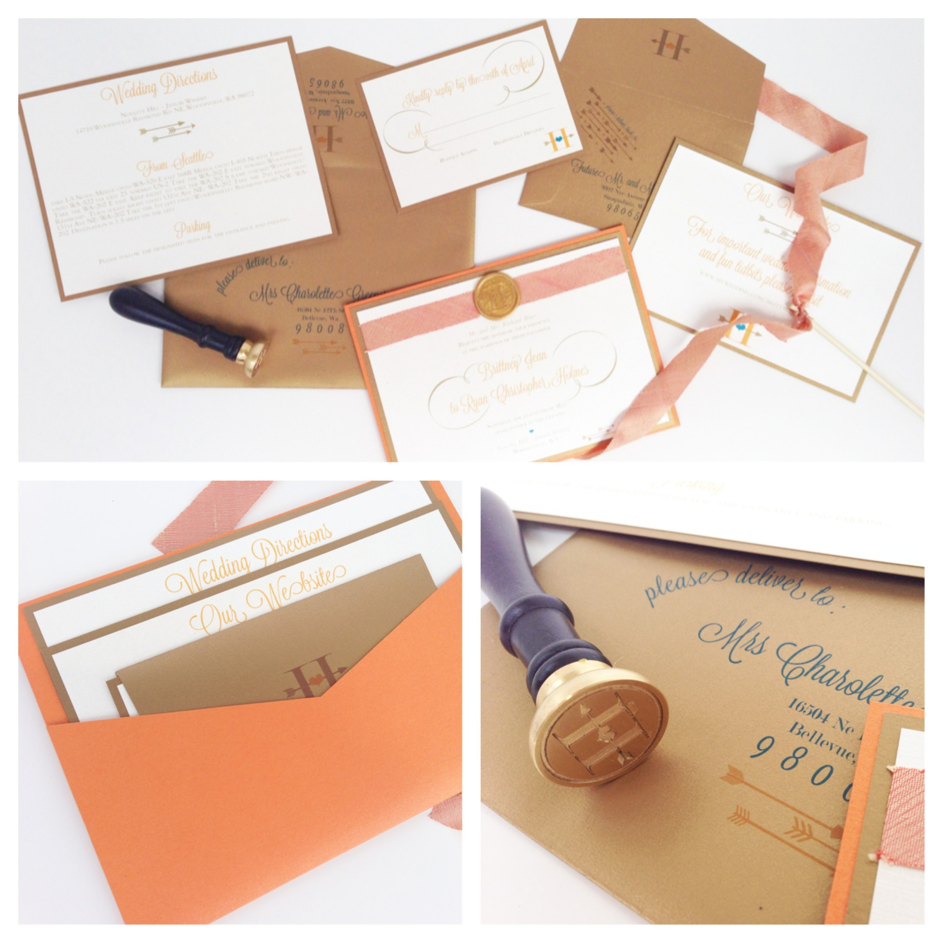 wedding invitations, orange and blue invitations, wax seal, gold wax seal, pocket invitations