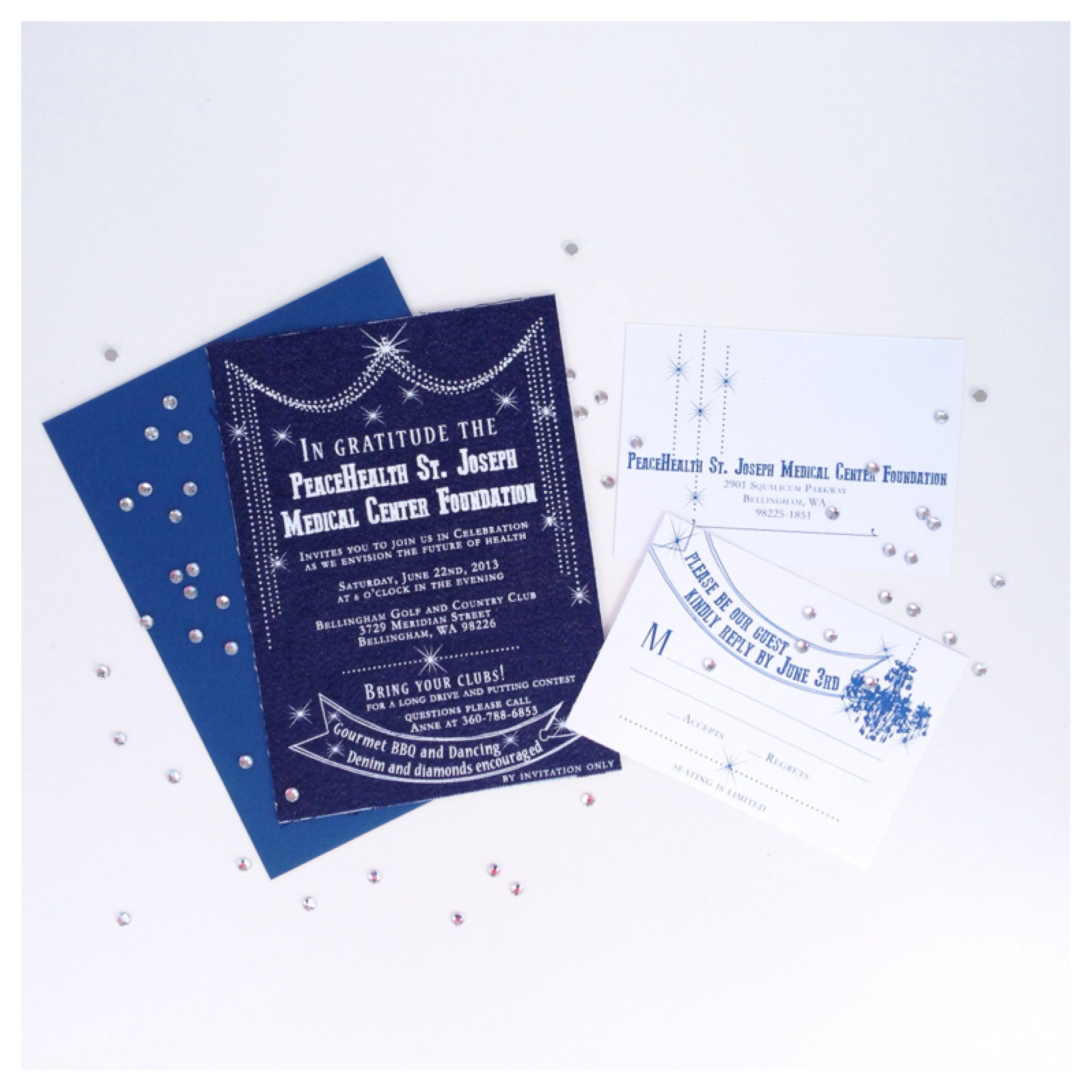 denim and diamonds invitation, screen printed invitations