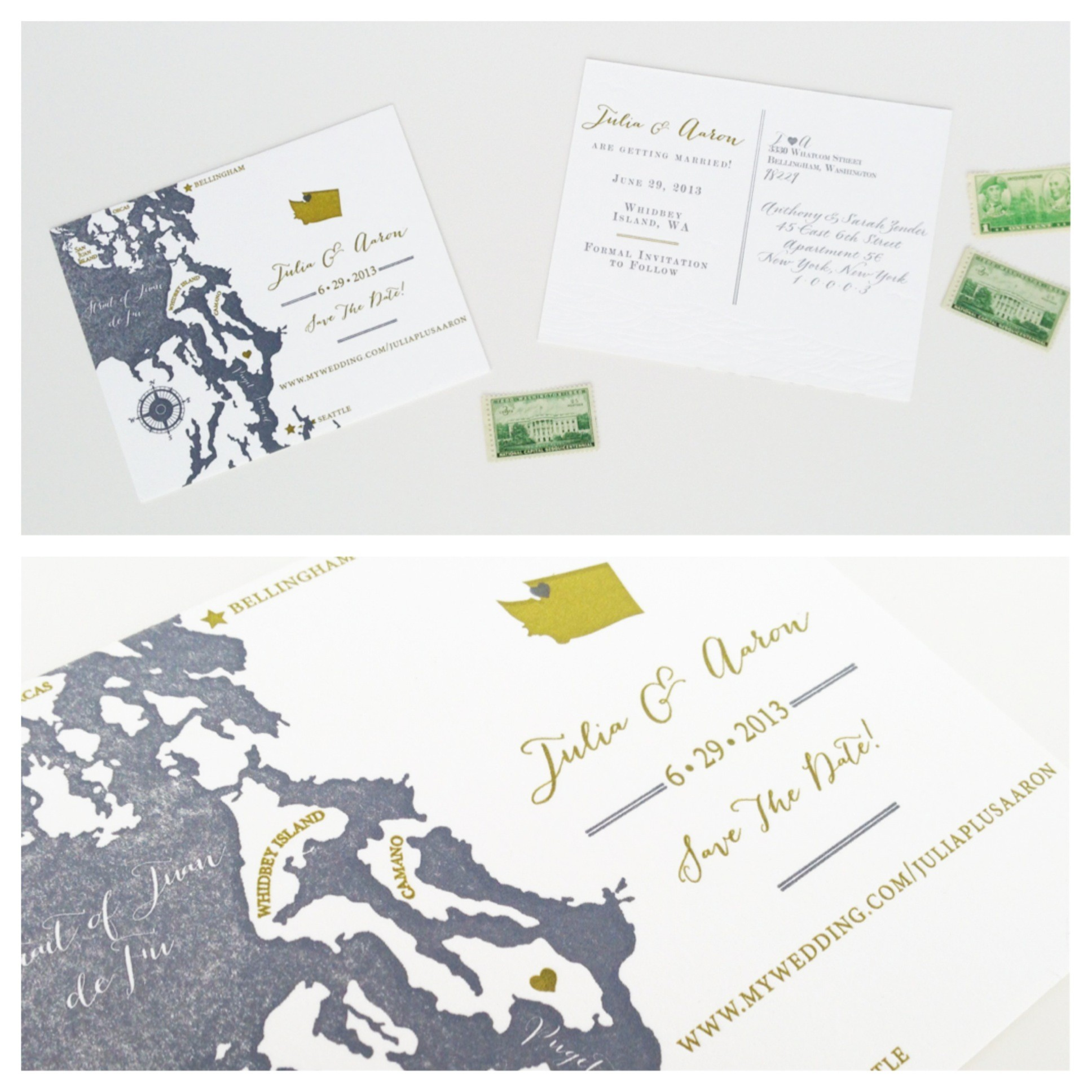 northwest save the dates, letterpress, wedding invitations
