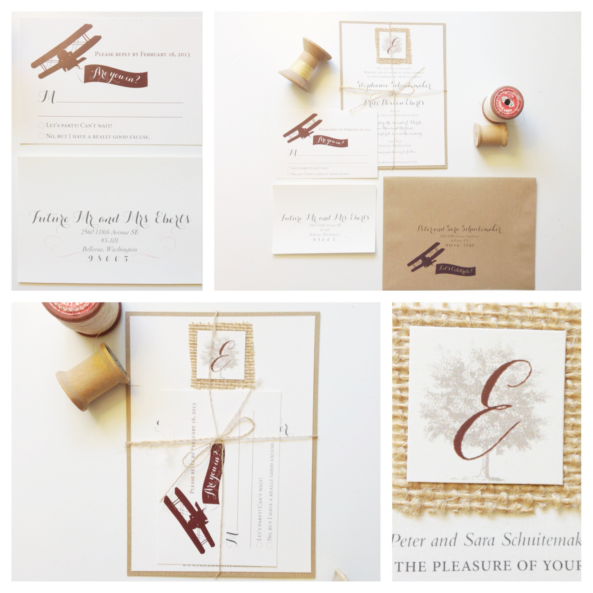 sodo park wedding, airplane wedding invitations, rustic wedding invitations, burlap tie